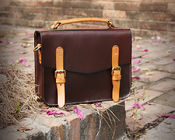 China LH-62-3 Handmade Handbags Vintage Briefcase Genuine Leather Ladies Bags factory