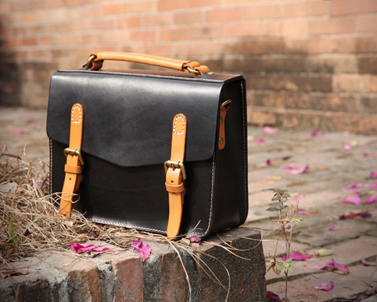 LH-62-2 Black Ladies Leather Bags Cambridge Style Leather Women Handbags