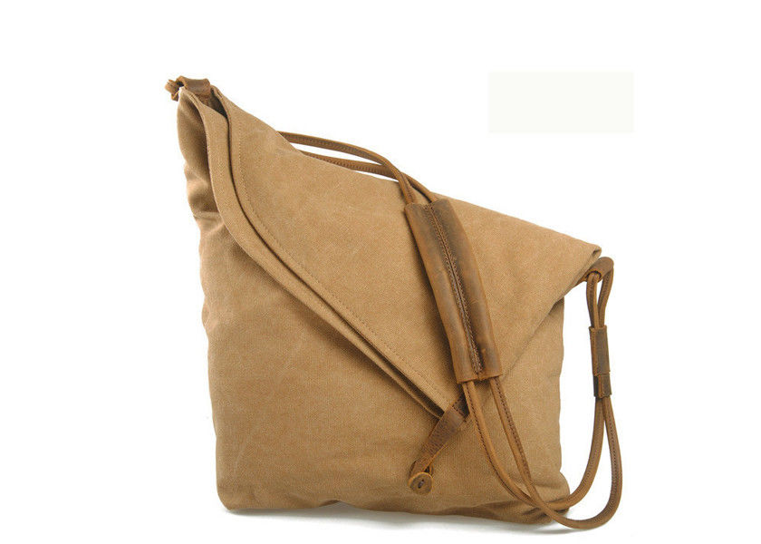 Classical Khaki Waxed Canvas Bag Folded Vintage Canvas Crossbody Bag