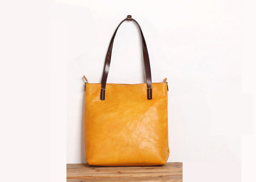 Women's Yellow Vegetable Tanned Genuine Leather Tote Bag