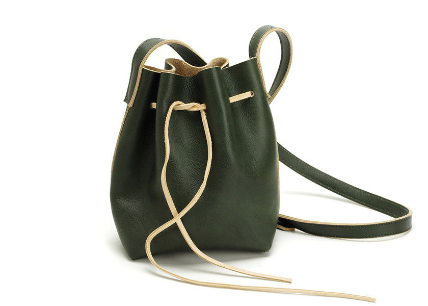 LH-39-1 Green Vegetable Tanned Leather Handbags Drawstring Bags for women 2017