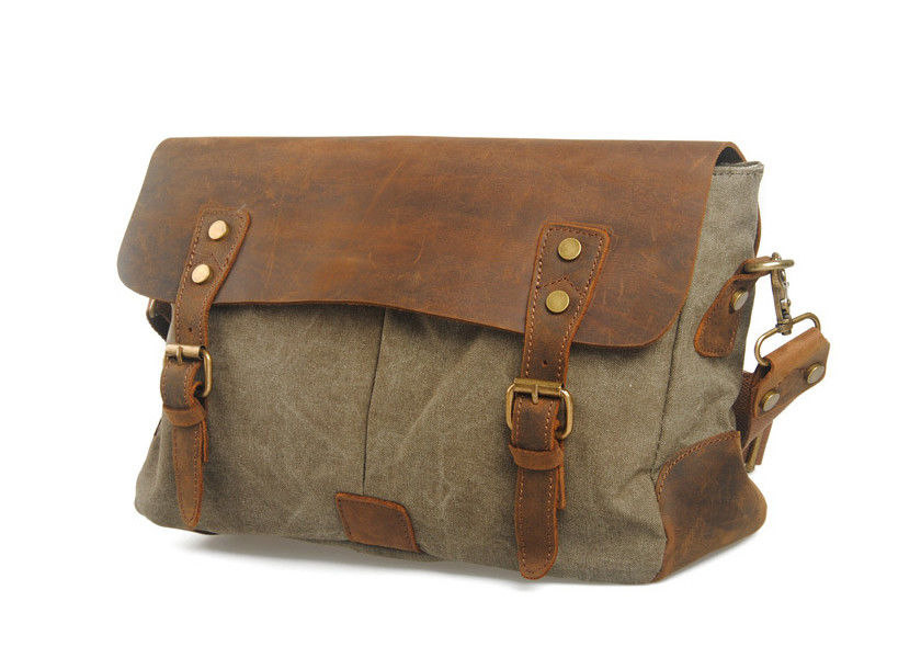 CL-410 Gray Vintage Style Canvas Leather Bag