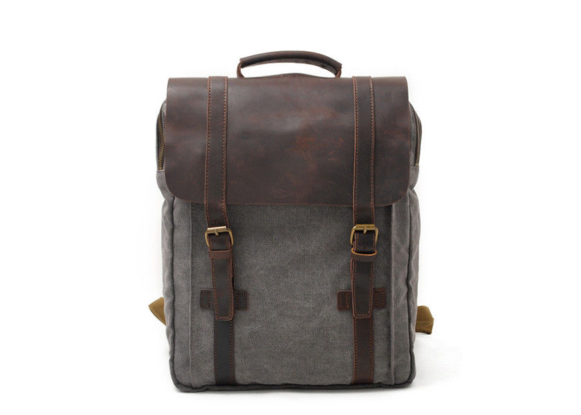 CL-500 Gray Hot Sale Vintage Design Men's Canvas and Leather Backpack