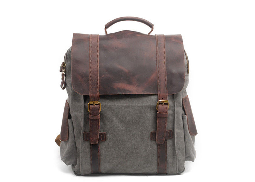 CL-502 Gray Classical Backpack Vintage Canvas Bag with Leather