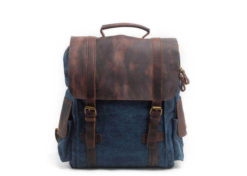 CL-502 Deep Blue Canvas Bag with Leather Straps and Cover Backpack
