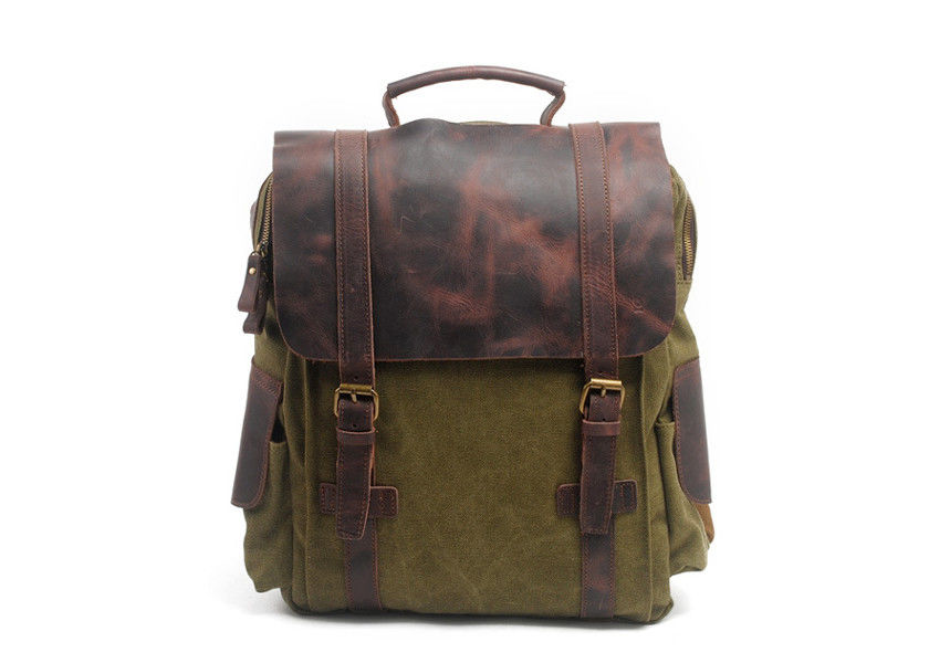 CL-502 Army Green Mens Canvas Leather Bag Hight Quality Backpack
