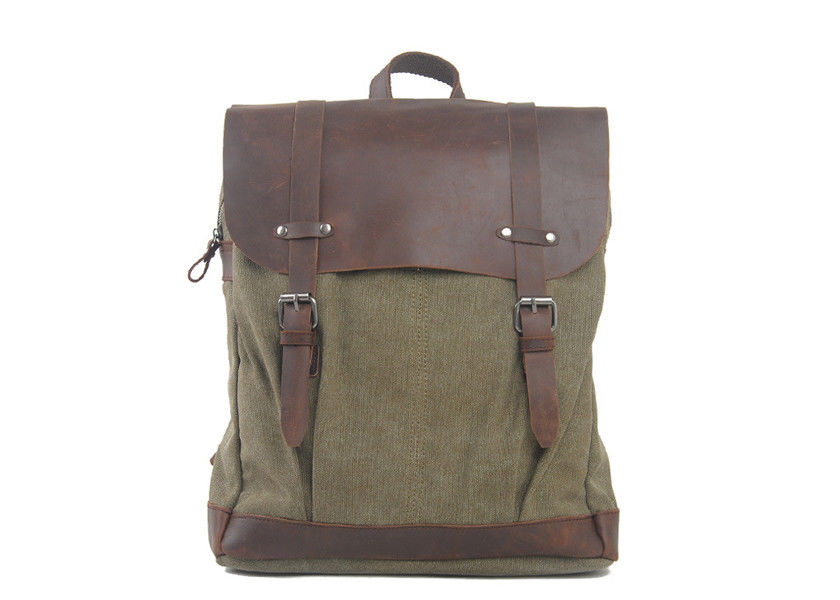 CL-520 Army Green Vintage Leather Canvas Bag Computer Backpack