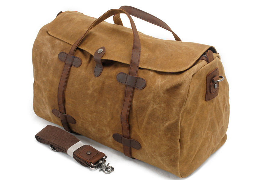 CL-600 Brown Classical Canvas Bag Waxed Canvas and Leather Luggage