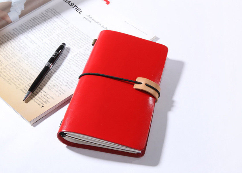 N52-L Red Personalised Leather Notebook Vintage Leather Bound Journal