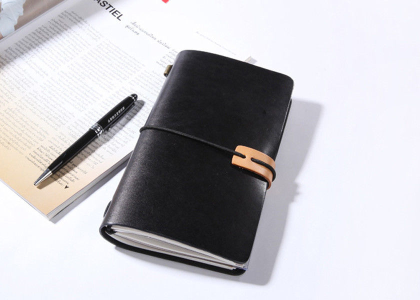 N52-L Black Leather Bound Notebook Refillable Leather Journal