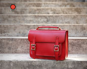 Red Large Handbags Handmade Vintage Leather Briefcase
