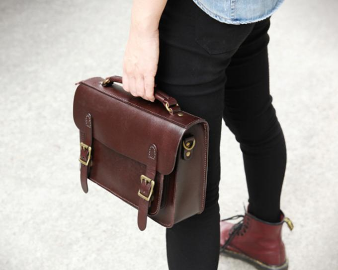 Vintage Bags Vegetable Tanned Leather Briefcase Big Leather Cambridge Bag