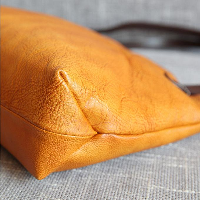 Yellow Vintage Leather Bags Ladies Tote Handbags Vegetable Leather Shoulder Bag