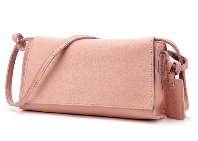 LH-31C-1 Pink Litchi Grain First Layer Genuine Soft Leather Handbag