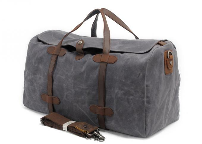 CL-600 Gray Simple Design Waxed Canvas and Leather Duffle Bag