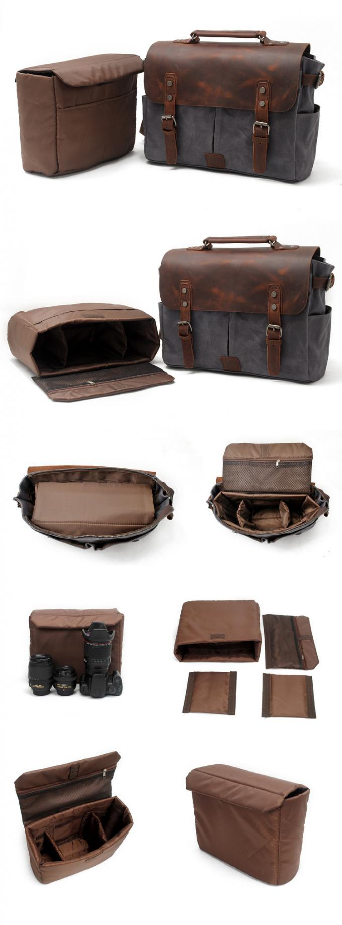 CL-900 Gray Classical Design Waxed Canvas and Leather Camera Bag